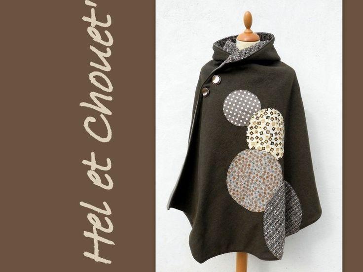 cape à capuche en laine et polaire marron : Manteau, Blouson, veste par hel-et-chouet