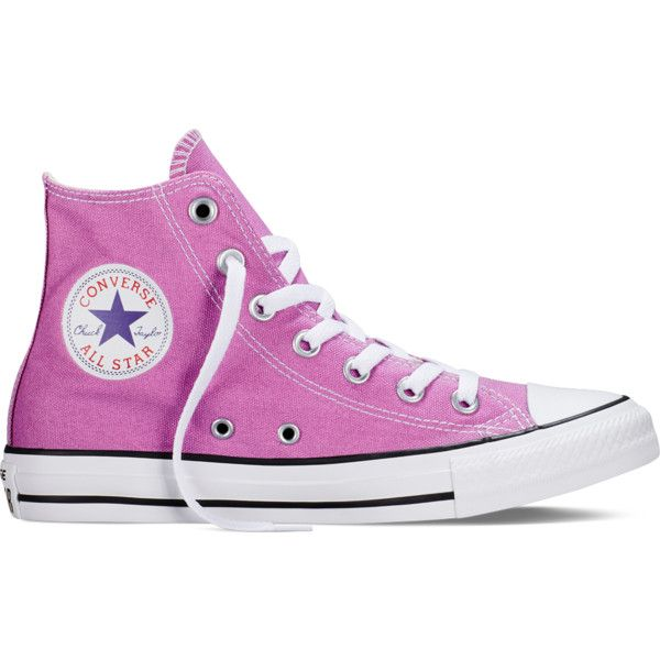 Converse Chuck Taylor All Star Fresh Colors – powder purple Sneakers ($55) ❤ liked on Polyvore featuring shoes, sneakers, powder purple, purple high tops, converse footwear, star sneakers, converse trainers and purple high top shoes