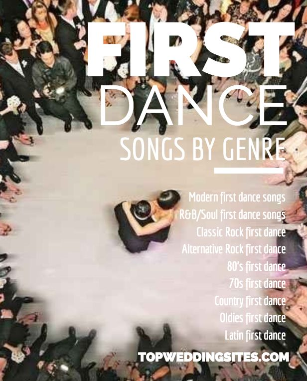 Complete Wedding Checklist: Top 5 First Dance Wedding Songs Listed By Genre. The