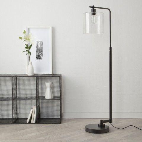 threshold seeded glass industrial floor lamp includes edison bulb