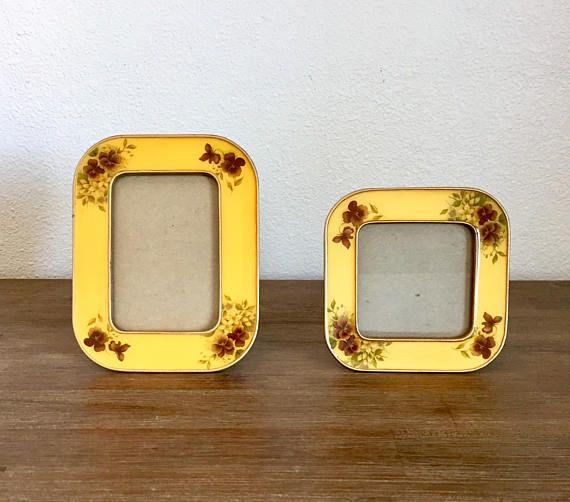 Yellow Enamel & Metal Floral Picture Frames; Bucklers Enamel Frames; Yellow Enamel Frames; Vintage Picture Frames; Retro Photo Frames #YellowEnamelFrame #FloralPattern #EnamelPictureFrame #YellowPictureFrame #EnamelAndMetal #TabletopFrames #BucklersFrame #VintageFrames #PictureFrames #PhotoFrames