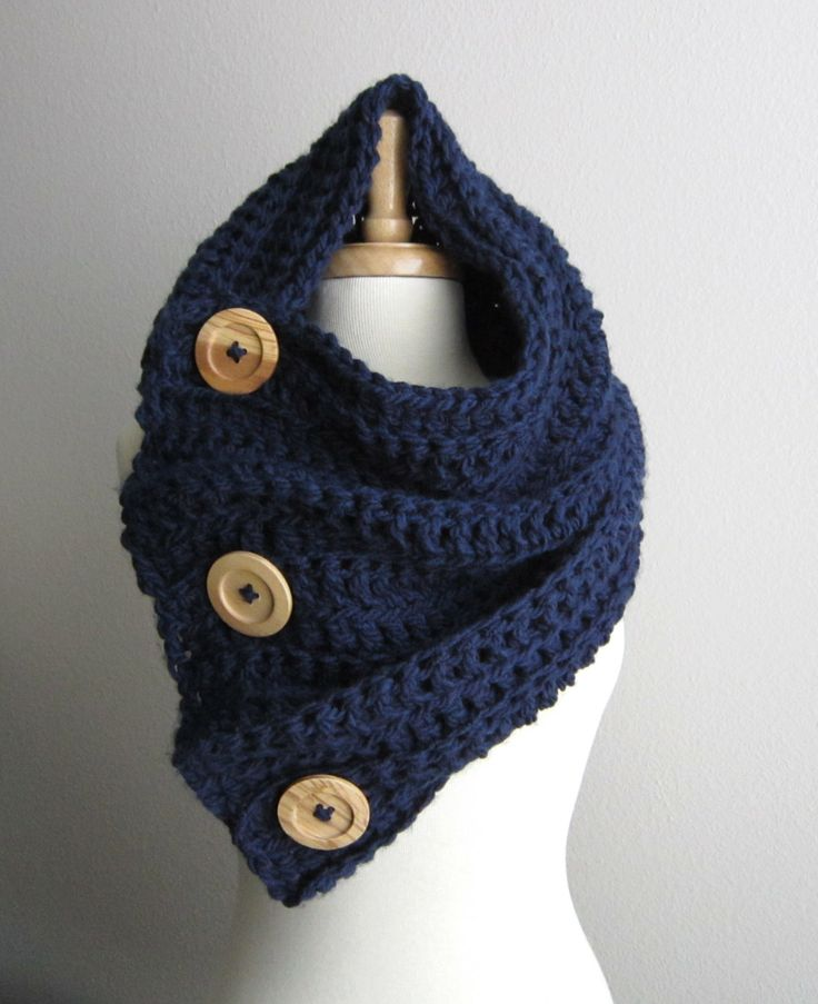 Chunky Crochet Button Cowl Scarf Hood  THE VAIL  Navy by WarmMeUp, $72.00