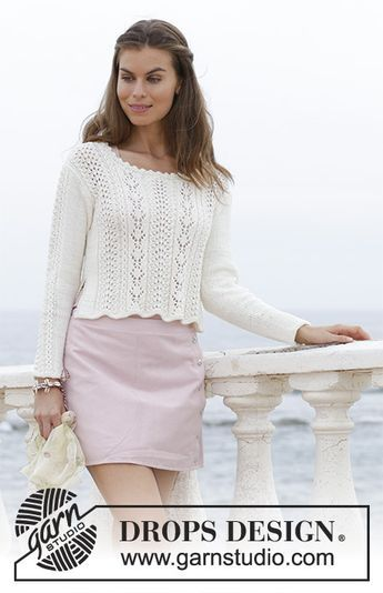 Rendez-vous - Knitted jumper with lace pattern and split in the sides. Sizes S - XXXL. The piece is worked in DROPS Merino Extra Fine. Free knitted pattern DROPS 188-9