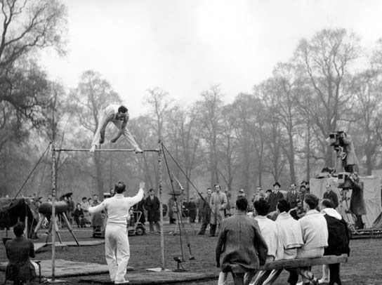 British Olympic gymnast in training 1948 London Olympics.