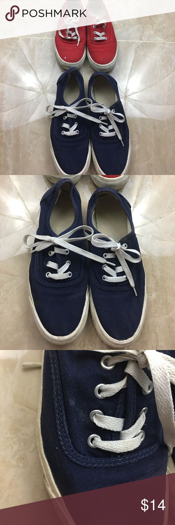 BUNDLE! 2/$14 Keds Navy and Red Sneakers A bundle for Keds sneakers! 2/$14! They are both pro-keds. I have worn both, so there are some light stains on the red and one stain on the blue pair. Of course the white edges are also dirty as well for both shoes. I'm sure if you wash them, the stains would go away. The red has a white dot that looks like paint, but I got them like that! Other than that they are in good condition! Looks good with any outfit. Keds Shoes Sneakers