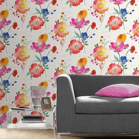 Vymura London Delicia Meadow Multi Coloured Wallpaper M0702 Watercolour Wallcoverings