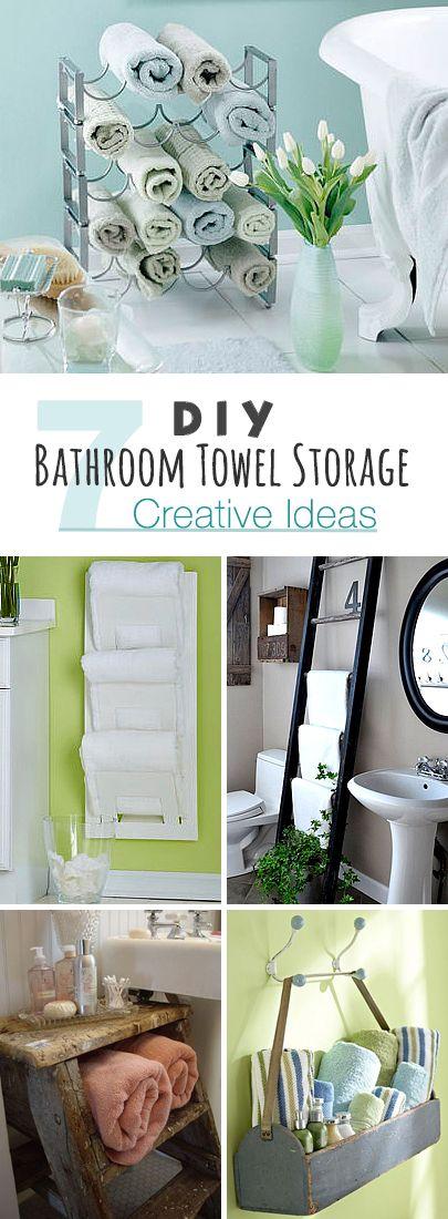DIY Bathroom Towel Storage: 7 Creative Ideas! • Click thru to see seven easy DIY bathroom towel storage ideas from modern to rustic!
