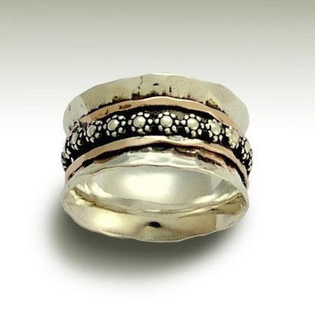 Silver wedding ring Floral ring stacking spinners by artisanlook