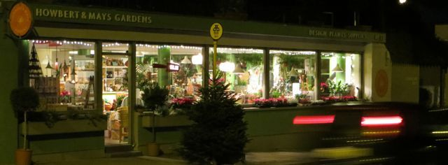 Howbert and Mays Garden Centre Dublin at night