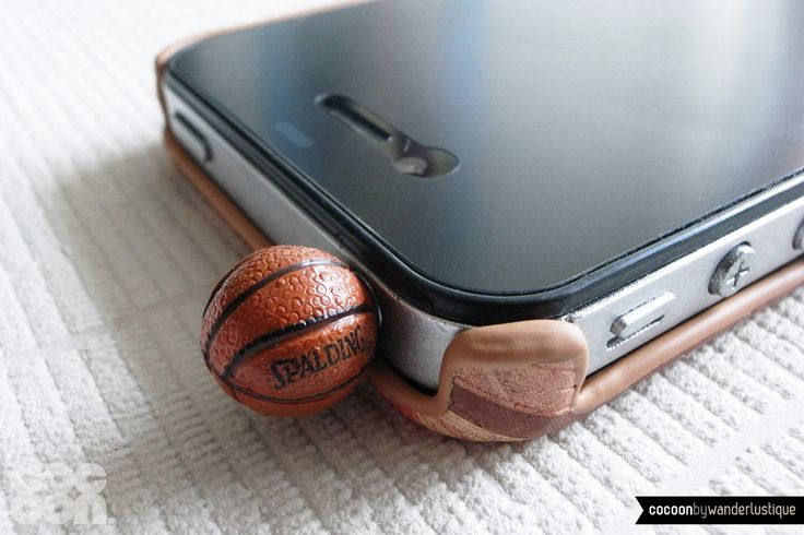 SALE30%OFF: Miniature Basketball iPhone Plug . Phone Charm . Phone Plug . Dust Plug // Gift, NBA, Spalding, Sport, LoL, Funny, Hand Painted. $3,50, via Etsy.