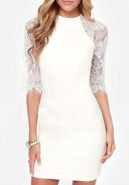 Lace Raglan Sleeve Dress - Features Lace Design
