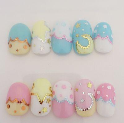 twin star nails.: Nails Art, Kawaii Nails, Nailart, Nails Design, Shorts Nails, Stars Nails, Pastel Nails, Fake Nails, Twin Stars