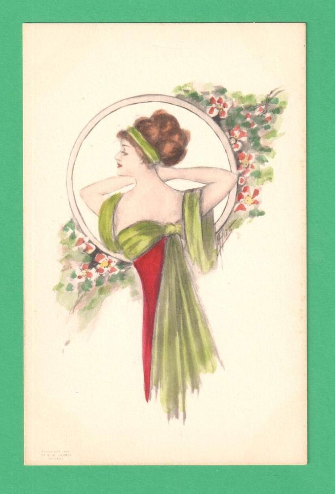 1910 M. RIES HAND-COLORED ART POSTCARD BEAUTIFUL LADY FLOWERS