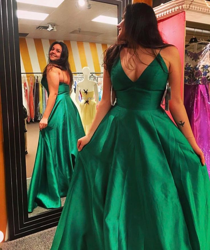 Green Satin Long Prom Dress with Spaghetti Straps