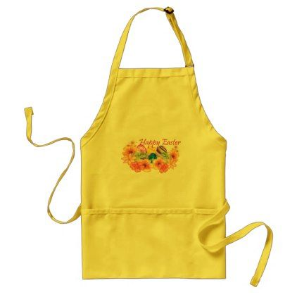 """""""Happy Easter"""" Floral Eggs Colorful Funny Adult Apron - home gifts ideas decor special unique custom individual customized individualized"""