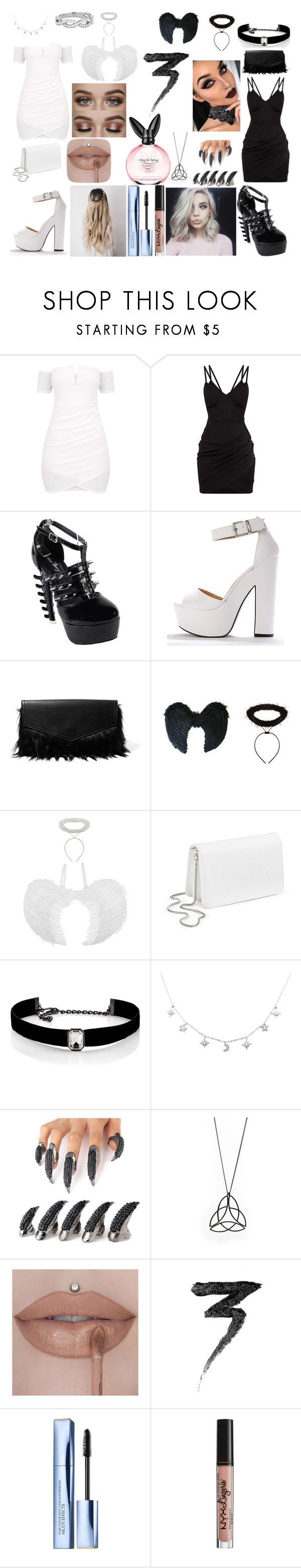 """angle of dark ness and angle of light"" by amberwomack02 on Polyvore featuring Iris & Ink, Miss Selfridge, Kenneth Jay Lane, Manic Panic NYC, Estée Lauder and NYX"