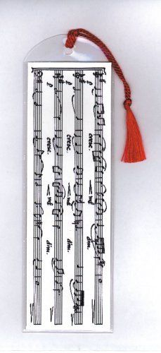 "Bookmarks in Vinyl Sleeves - Music Score by Music Treasures Co.. $2.50. Bookmark in a vinyl sleeve & includes colored tassel. 2.75"" x 8.75"""