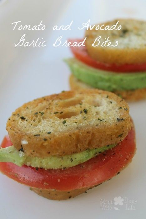 Tomato and Avocado Garlic Bread Bites