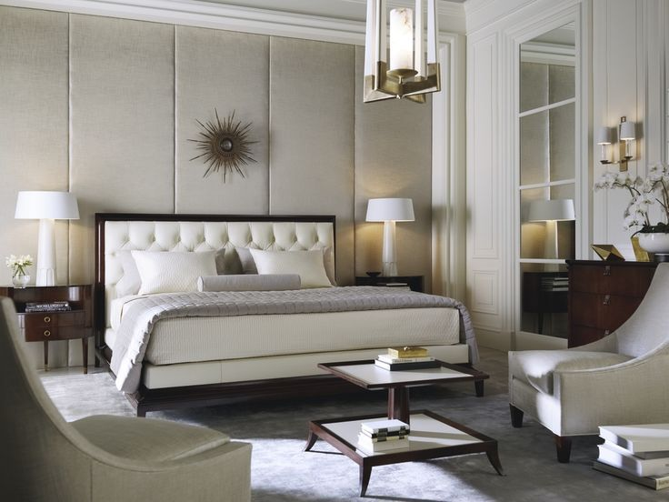 Traditional Master Bedroom with Atwood Chair, Archer/Ivory, Carpet, Pendant Light, Wall sconce, Memphis Tufted Queen Bed