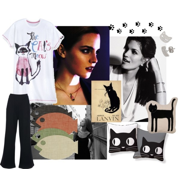 """""""the cats meow"""" by leahrae-1 on Polyvore: Cat Throw, Cat Meow"""