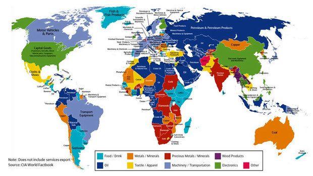 Bank of America составил карту главного экспортного продукта разных стран мира - Газета.Ru | Новости