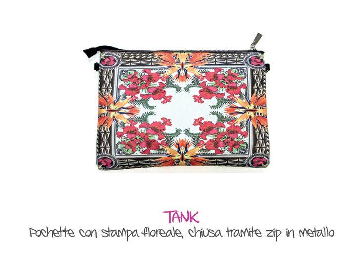 TANK - Pochette con stampa floreale, chiusa tramite zip in metallo