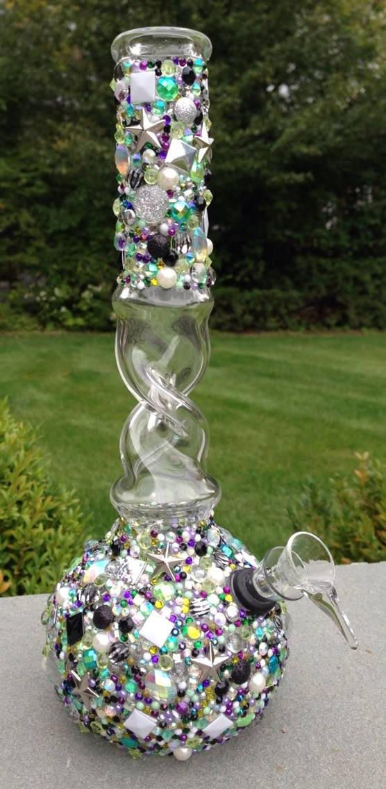 WATER PIPE -- The Dank Color Glamourbomb from OnMyGrindAccessories on Etsy. Saved to O.M.G. (On. My. Grind.) Accessories. #smokw #beautiful #bong #huge #yes #smokingaccessories #bling #glamour.
