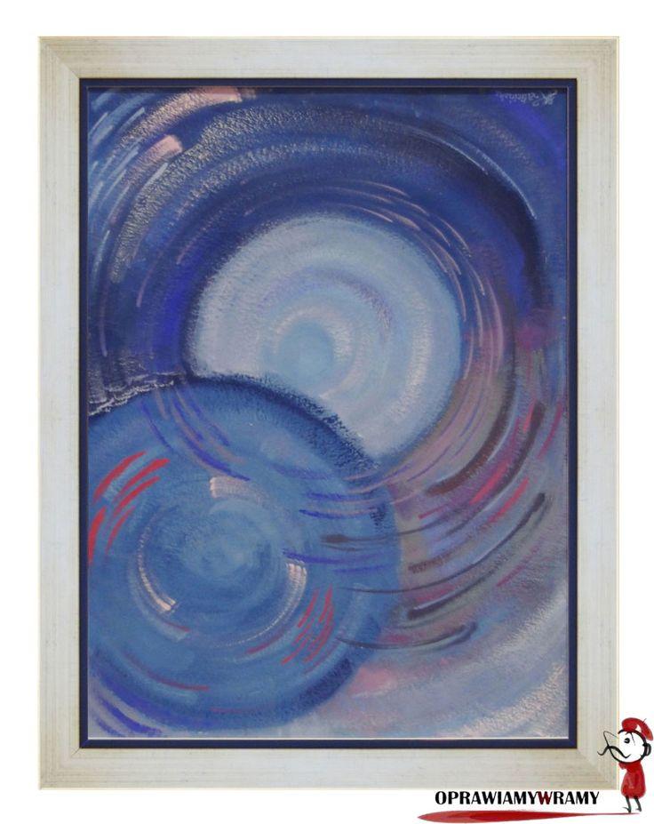 Niebieska abstrakcja w białej ramce #ramka #abstrakcja #oprawiamywramy