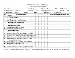 Formato de autoevaluación del estudiante