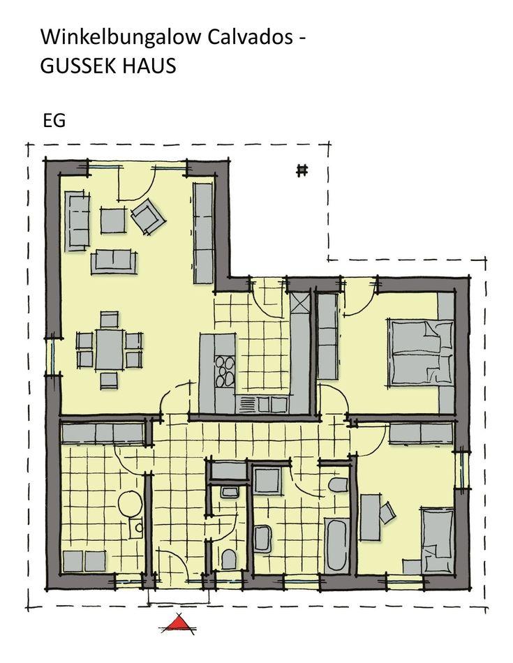 Winkelbungalow Grundriss mit Walmdach 3 Zimmer, 112 qm