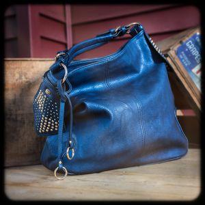 Image of Large Metallic Blue Hobo Bag with Side Studs