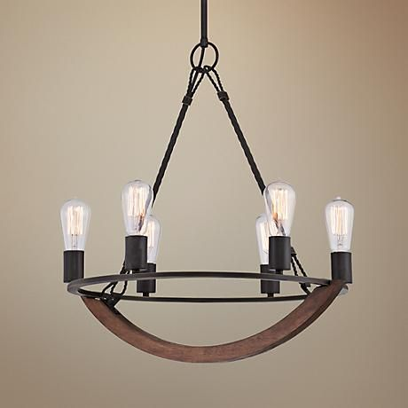 """($417) Quoizel Anchor 22 1/2"""" Wide Imperial Bronze Chandelier"""