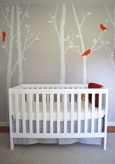This is the crib we have (though ours is brown, not white) with a box-pleat crib skirt.