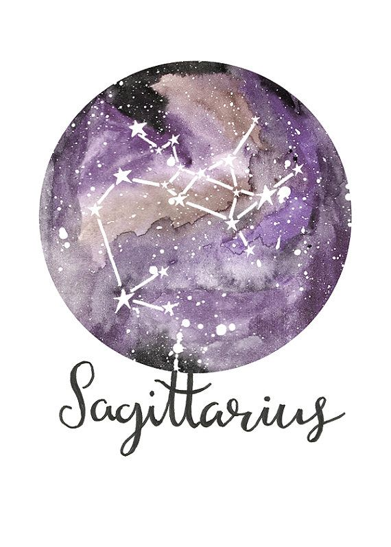 TITLE: Sagittarius - Zodiac Constellations SIZE: 7x5 - Unframed art print of my original painting.  All prints are signed on the back and are carefully packed in a clear sleeve and a hard backed envelope to ensure it arrives in pristine condition. Artwork © Sarah Frances.
