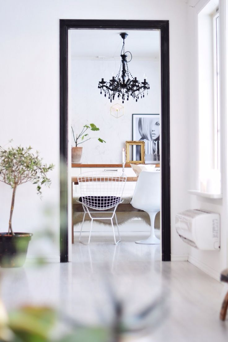 Kitchen frame black white Walls olive tree chandelier