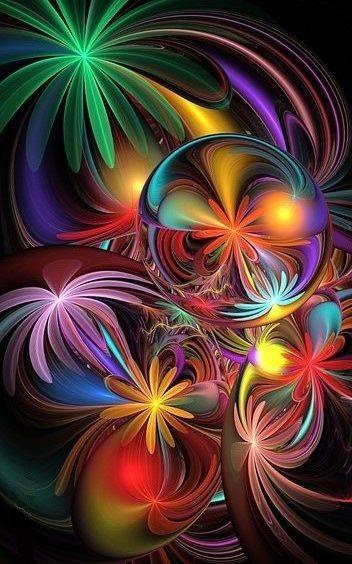 Flowers Fractal Art Abstrait Image Color 233 E Art Color 233