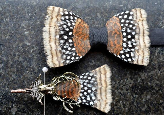 HENLEY ROYAL REGATTA Woodcock Feather Bow Tie Wedding Bow