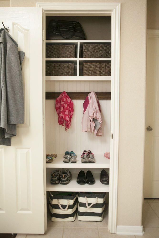Kleiderschrank Mini Mudroom Closetstoragebaskets Closetstoragedecor Creativeclosetstora Schrank Umgestalten Garderobenorganisation Kleiner Kleiderschrank