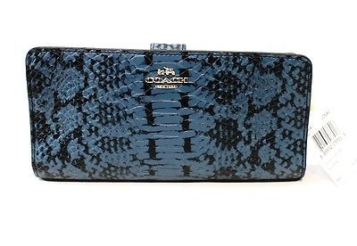 Coach NEW Blue Navy Python Clutch Leather Organizer Skinny Wallet $165 #004