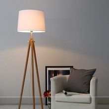 US $196.46 Modern Nordic Wooden Floor Lamps Wood Fabric Lampshade Tripod Floor Lamps For Living Room Bedroom Indoor Home Lighting Fixture. Aliexpress product