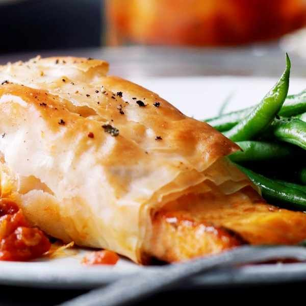 salmon filo parcels with tomato ginger jam recipe easy salmon recipes recipes salmon recipes pinterest