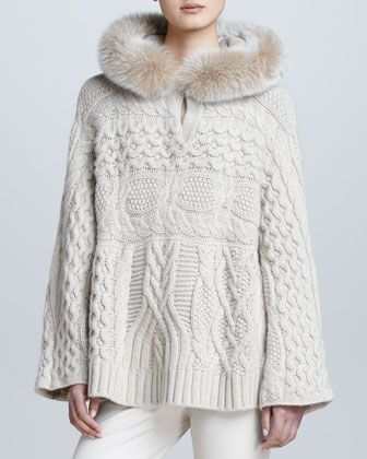 Cable-Knit Fur-Hooded Cashmere Cape by Loro Piana at Bergdorf Goodman.