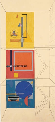 Herbert Bayer (American, b. Austria, 1900-1985). Wall-painting design for the stairwell of the Weimar Bauhaus building on the occasion of the 1923 Bauhaus exhibition, 1923. Gouache, pencil, and cut paper on paper. 22 7/8 x 10 3/8 in. (58.1 x 26.4 cm).  © 2009 Artists Rights Society (ARS), New York / VG Bild-Kunst, Bonn / Collection Merrill C. Berman