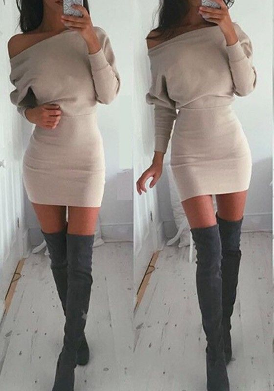 Khaki Plain Asymmetric Shoulder Collarless Cotton Blend Mini Dress
