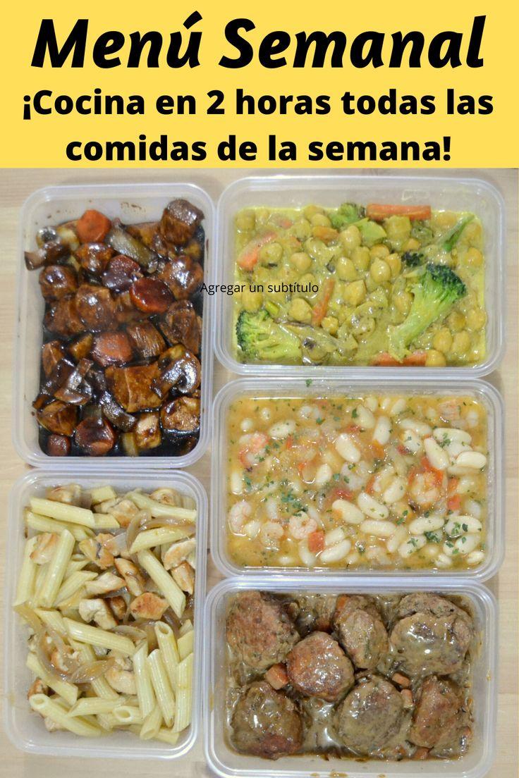 """Menú Semanal. Cocina en 2 horas las comidas de toda la semana. ¡Para comer en casa o de tapper en el trabajo!  """"MEAL PREP"""" o """"BATCH COOKING"""" en español Batch Cooking, Meal Prep, Beef, Meals, Vegetables, Food, Home, Vestidos, Weekly Menu"""