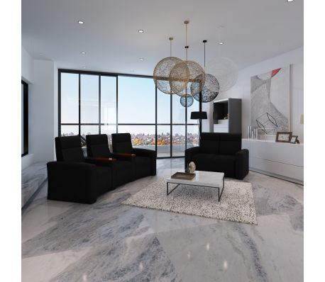 Luxe sofa fauteuils verstelbaar zwart (2   3 zits)