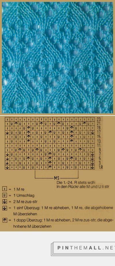 Lace knitting pattern | Lochstrickmuster Beispiel 6, Musterbreite: 10 M + 11 M…