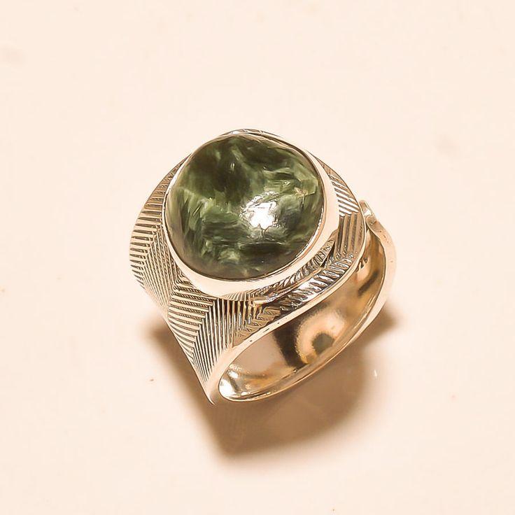 92.5% SOLID STERLING SILVER WONDERFUL SERAPHINITE RING (Adjustable)  #Handmade
