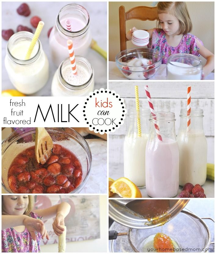 Fresh fruit flavored milk is easy to make and the kids will love helping make it as well as drinking! The perfect way to get your kids to drink more milk!