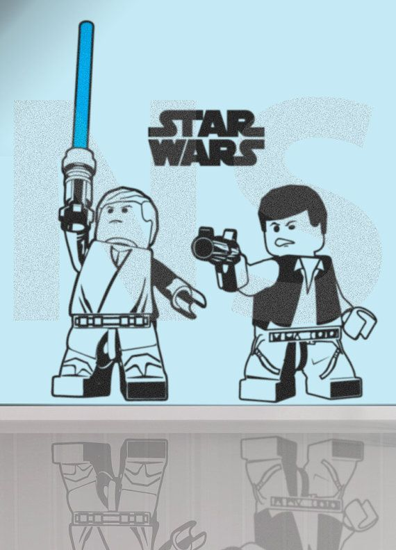 LEGO STAR WARS luke sky walker & han solo wall art door NSVINYLS